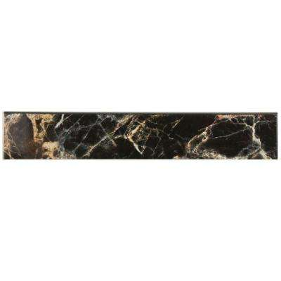 Eclipse Negro 3-1/4 in. x 17-3/4 in. Ceramic Floor and Wall Bullnose Trim Tile