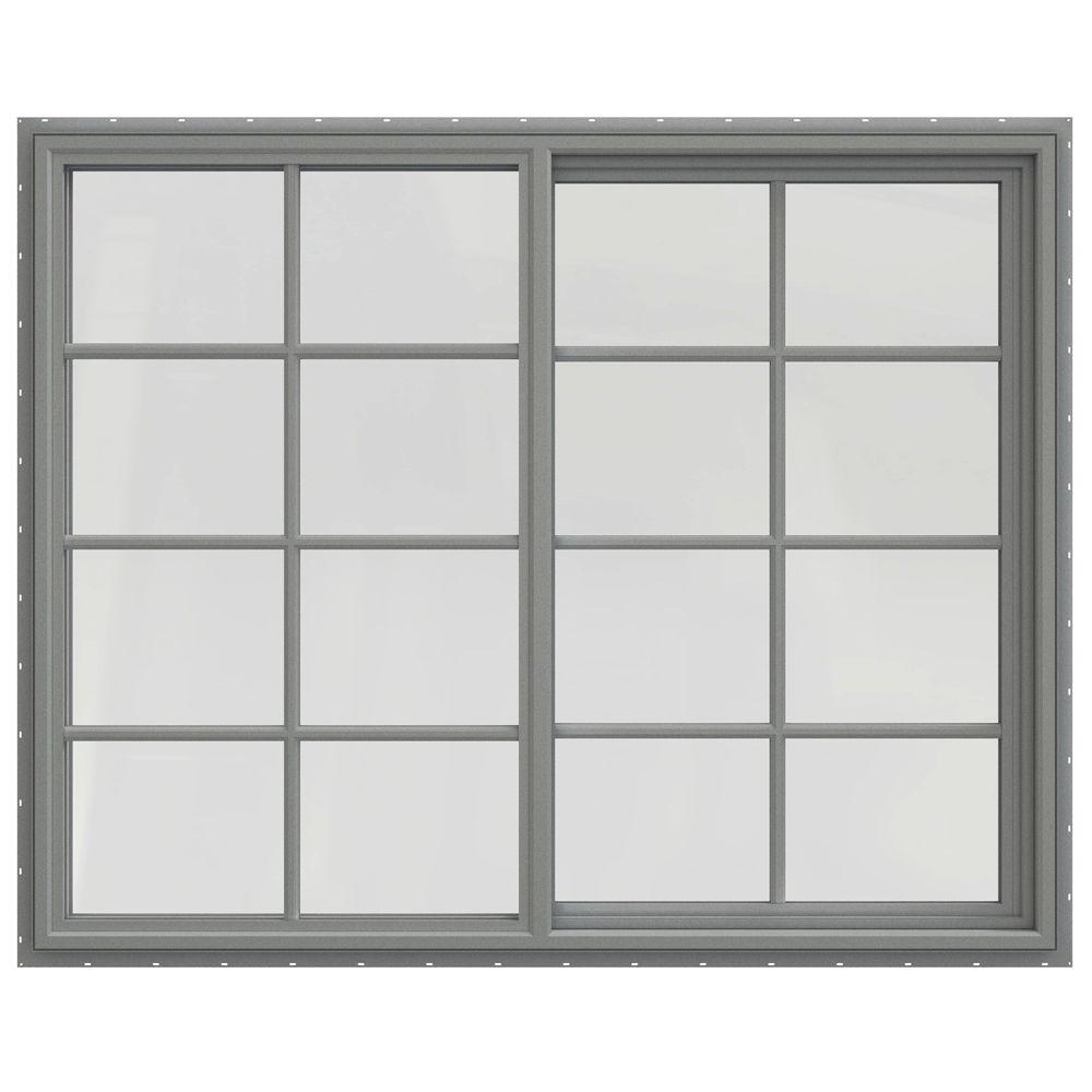 JELD-WEN 59.5 in. x 47.5 in. V-4500 Series Left-Hand Sliding Vinyl Windows with Grids - Gray