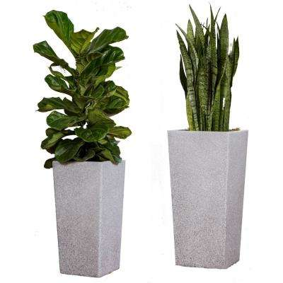 Xbrand 29 in. Tall and 24 in. Tall Grey Modern Nested Square Flower Concrete Pot Planter (Set of 2 Different Sizes)