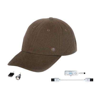 Rechargeable Hat with Attachable LED Light, Brown