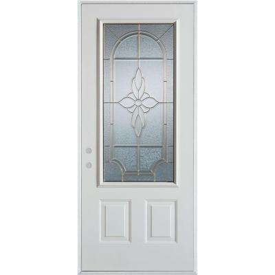 33.375 in. x 82.375 in. Traditional Brass 3/4 Lite 2-Panel Painted White Right-Hand Inswing Steel Prehung Front Door