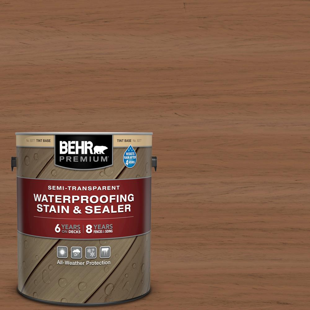 BEHR PREMIUM 1 gal. #ST-152 Red Cedar Semi-Transparent Waterproofing Exterior Wood Stain and Sealer