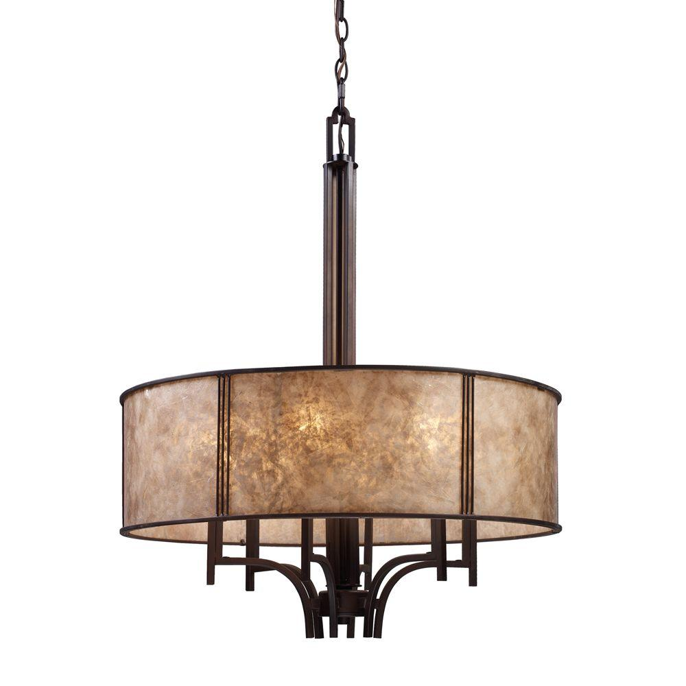 Titan lighting barringer 6 light aged bronze chandelier with tan mica shade