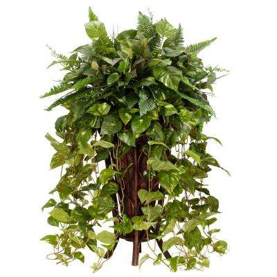 36 in. H Green Vining Mixed Greens with Decorative Stand Silk Plant