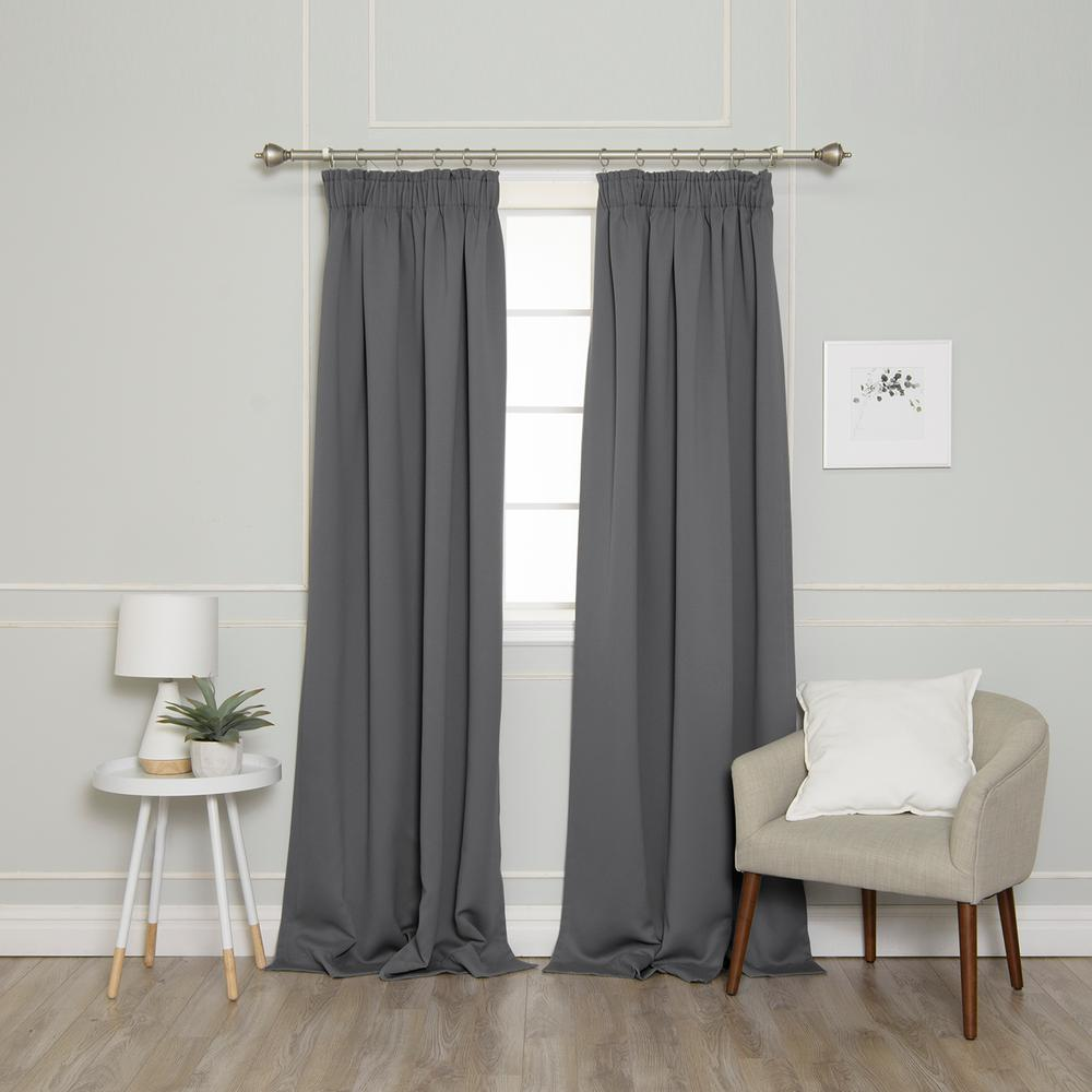 Best Home Fashion 84 in. L Pencil Pleat Blackout Curtains in Grey (2-Pack)