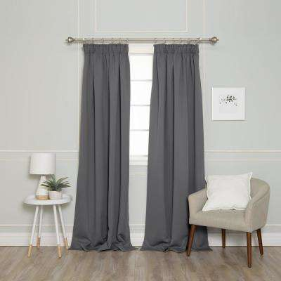 84 in. L Pencil Pleat Blackout Curtains in Grey (2-Pack)