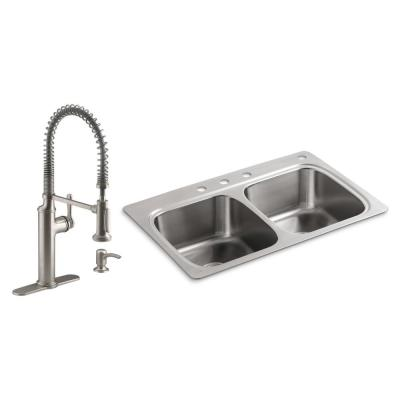 Verse All-in-One Drop-in Stainless Steel 33 in. Double Bowl Kitchen Sink with Sous Kitchen Faucet