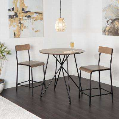 Declean 3-Piece Metal Wood Pub Height Dining Set