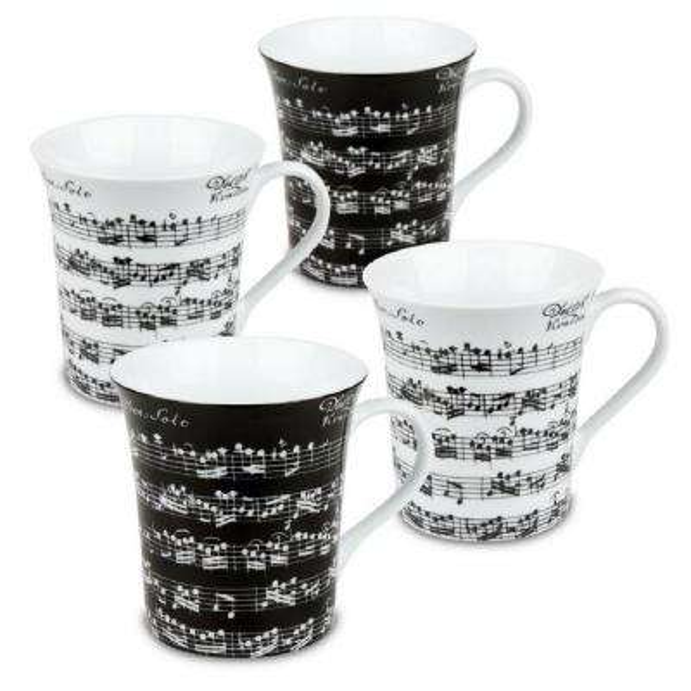 Konitz 4-Piece Assorted Vivaldi Libretto Black and White Porcelain Mug Set