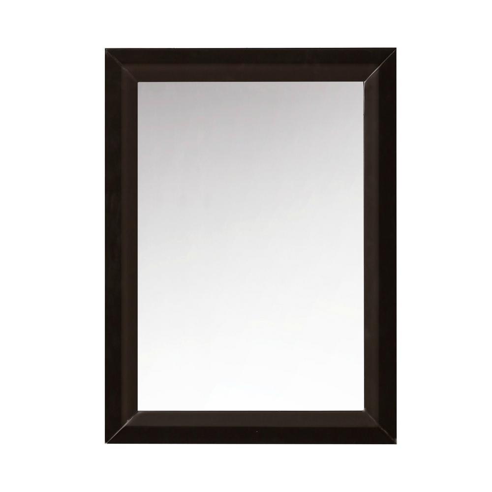 24 in. x 31.5 in. Framed Wall Mirror in Espresso