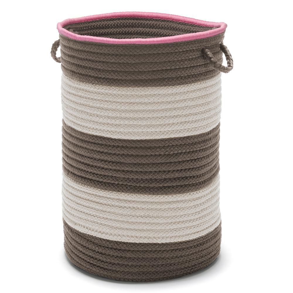 Color Pop Round Polypropylene Hamper Gray Pink 16 in. x 16 in. x 24 in.