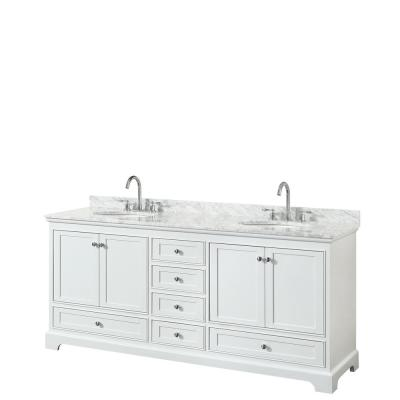 Deborah 80 in. Double Bathroom Vanity in White with Marble Vanity Top in White Carrara with White Basins