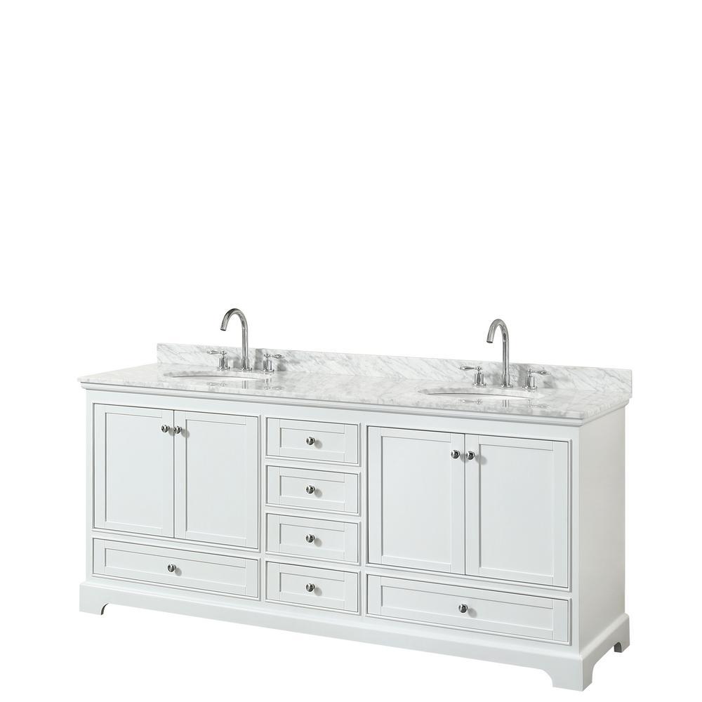 Deborah 80 in. Double Bathroom Vanity in White with Marble Vanity Top in White Carrara with White Basins
