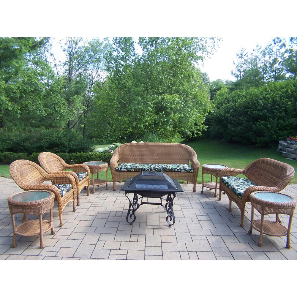 9-Piece Wicker Patio Fire Pit Conversation Set with Tan Cushions