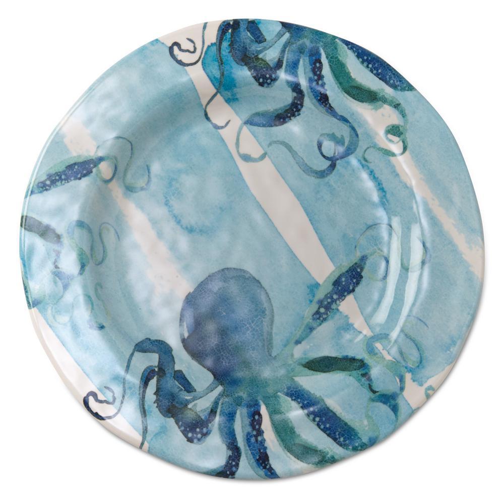 11 in. Ocean Blue Melamine Dinner Plates (Set of 4)
