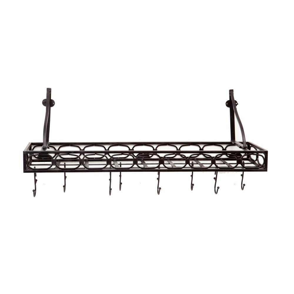 Old Dutch 36 in. x 9 in. x 11.75 in. Matte Black Medium Gauge Wall-Mount Bookshelf Pot Rack with 8 Hooks