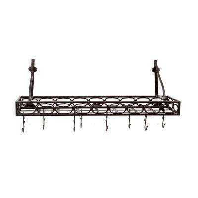 36 in. x 9 in. x 11.75 in. Matte Black Medium Gauge Wall-Mount Bookshelf Pot Rack with 8 Hooks