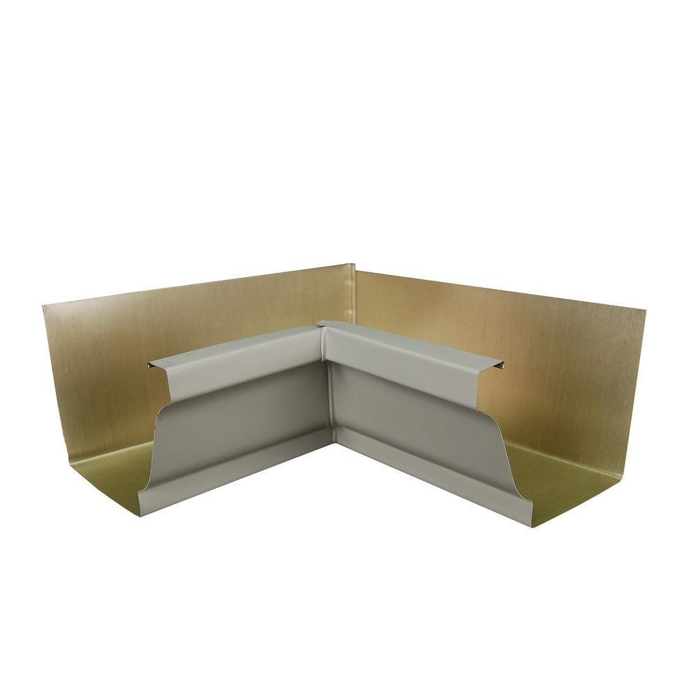 6 in. Pearl Gray Aluminum Inside Box Gutter Miter