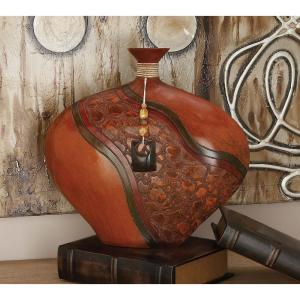 14 in. Polystone Decorative Spouted Vase in Cognac Brown