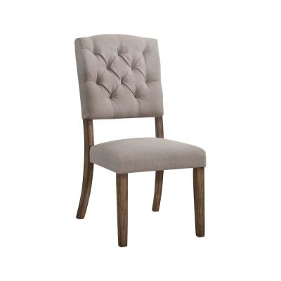 Beige and Brown Padded Side Chair with Flared Legs (Set of 2)