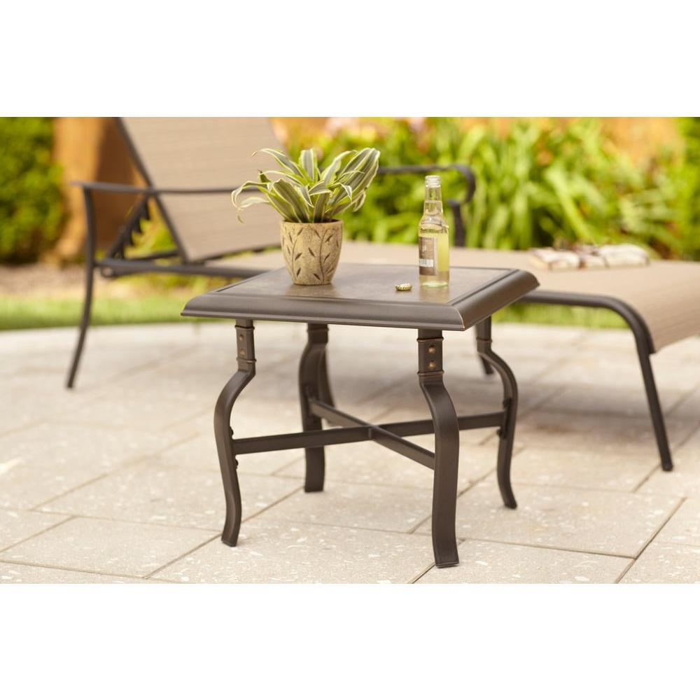 hampton bay belleville patio side table fts80584b the home depot. Black Bedroom Furniture Sets. Home Design Ideas
