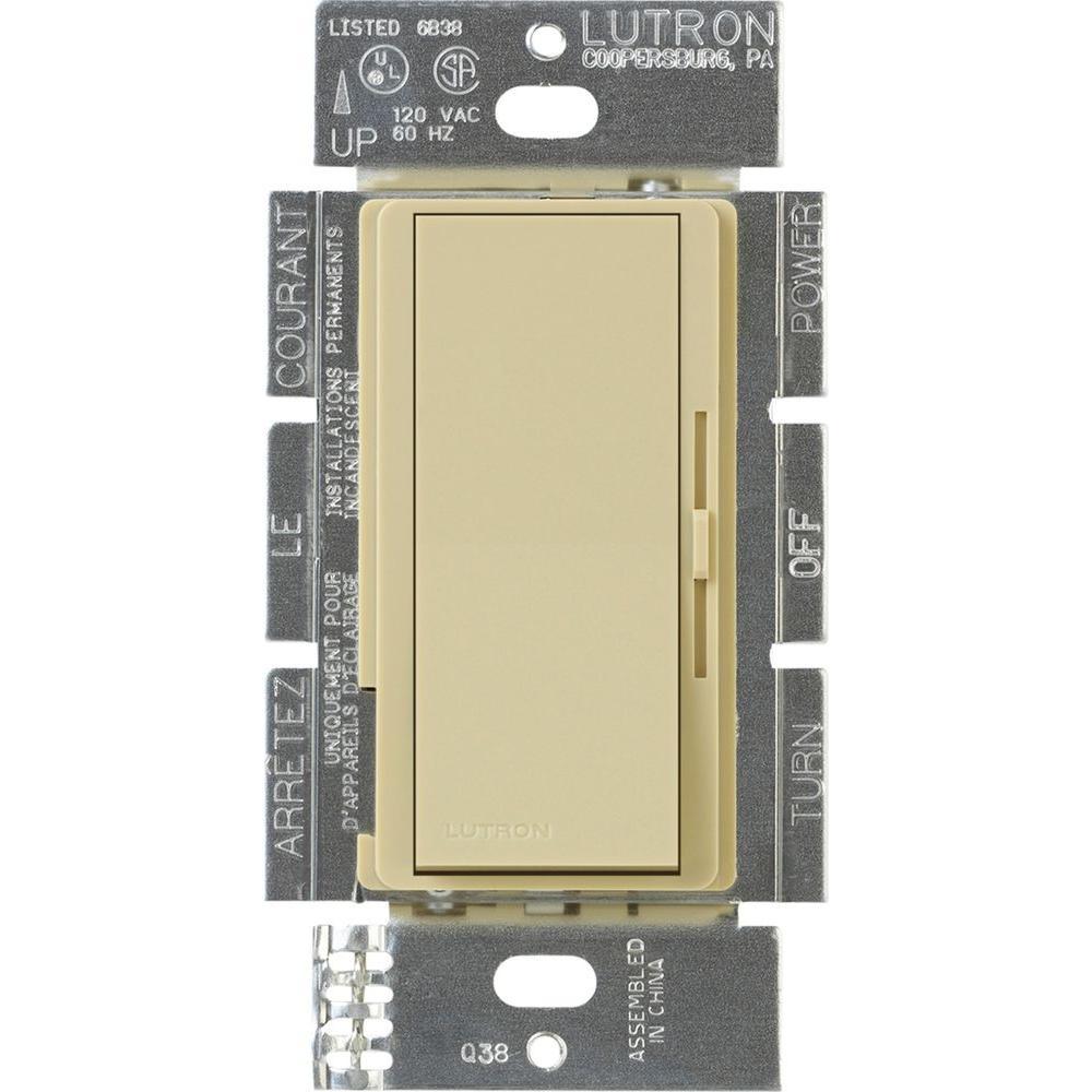 Diva Dimmer for 0-10V LED/Fluourescent Fixtures, 8-Amp, Single-Pole or 3-Way, Ivory