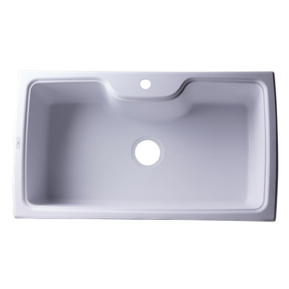 ALFI brand Drop-In Granite Composite 34.63 in. 1-Hole Single Bowl ...