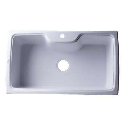 Drop-In Granite Composite 34.63 in. 1-Hole Single Bowl Kitchen Sink in White