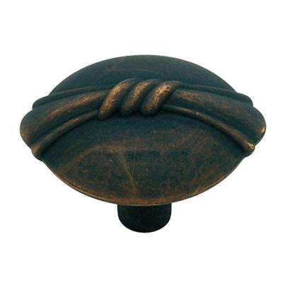 Bundled Reed 1-1/8 in. (28mm) in. Distressed Oil Rubbed Bronze Oval Cabinet Knob