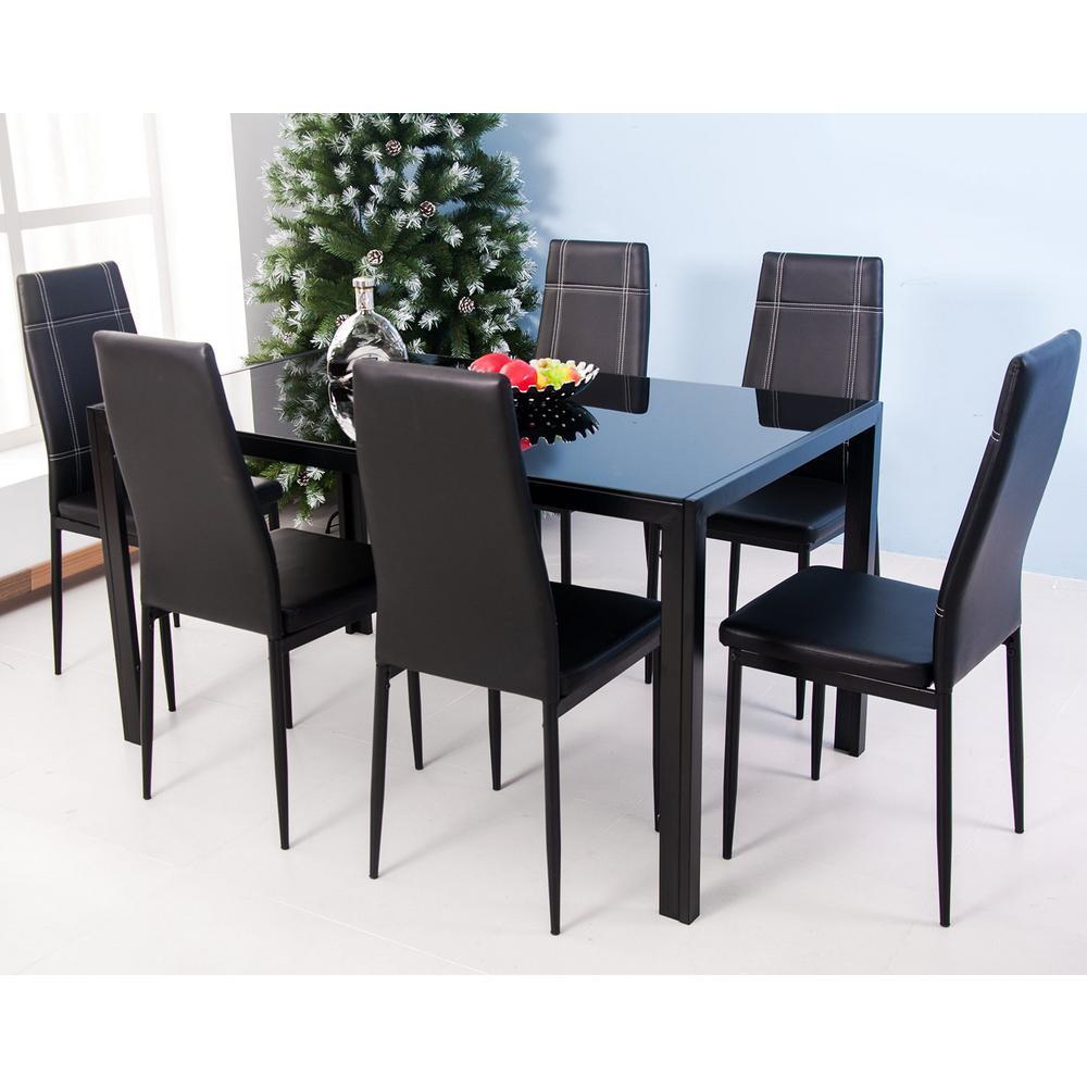7-Piece Black Dining Set