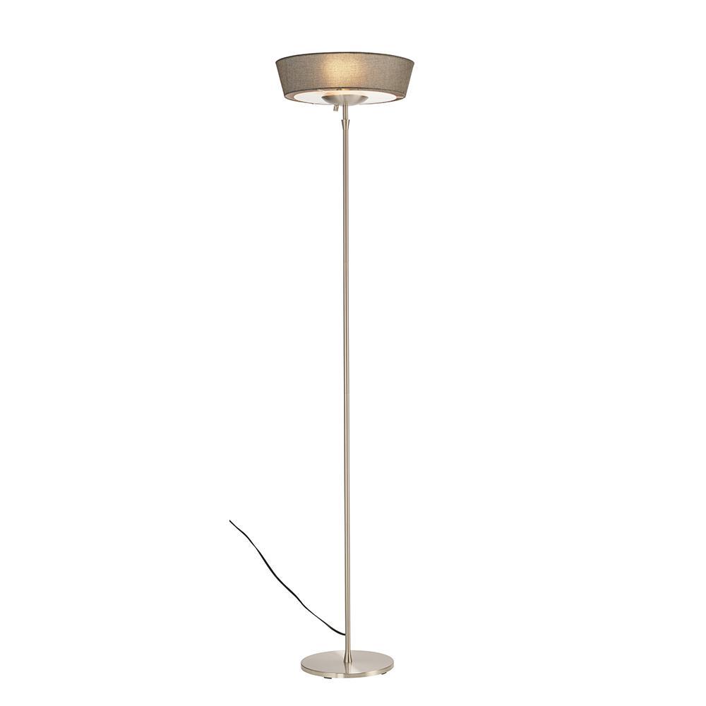 Harper 71 in. Satin Steel Floor Lamp with Grey Shade