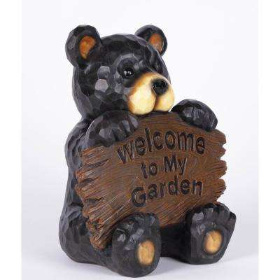 Bear Cub Holding Welcome Sign Statue