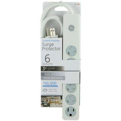 6-Outlet Surge Protector - White