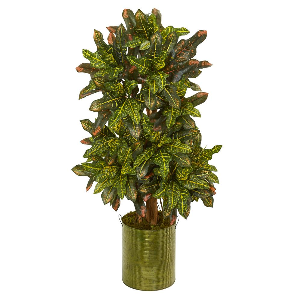 Nearly Natural 3.5 in. Croton Artificial Plant in Green T...