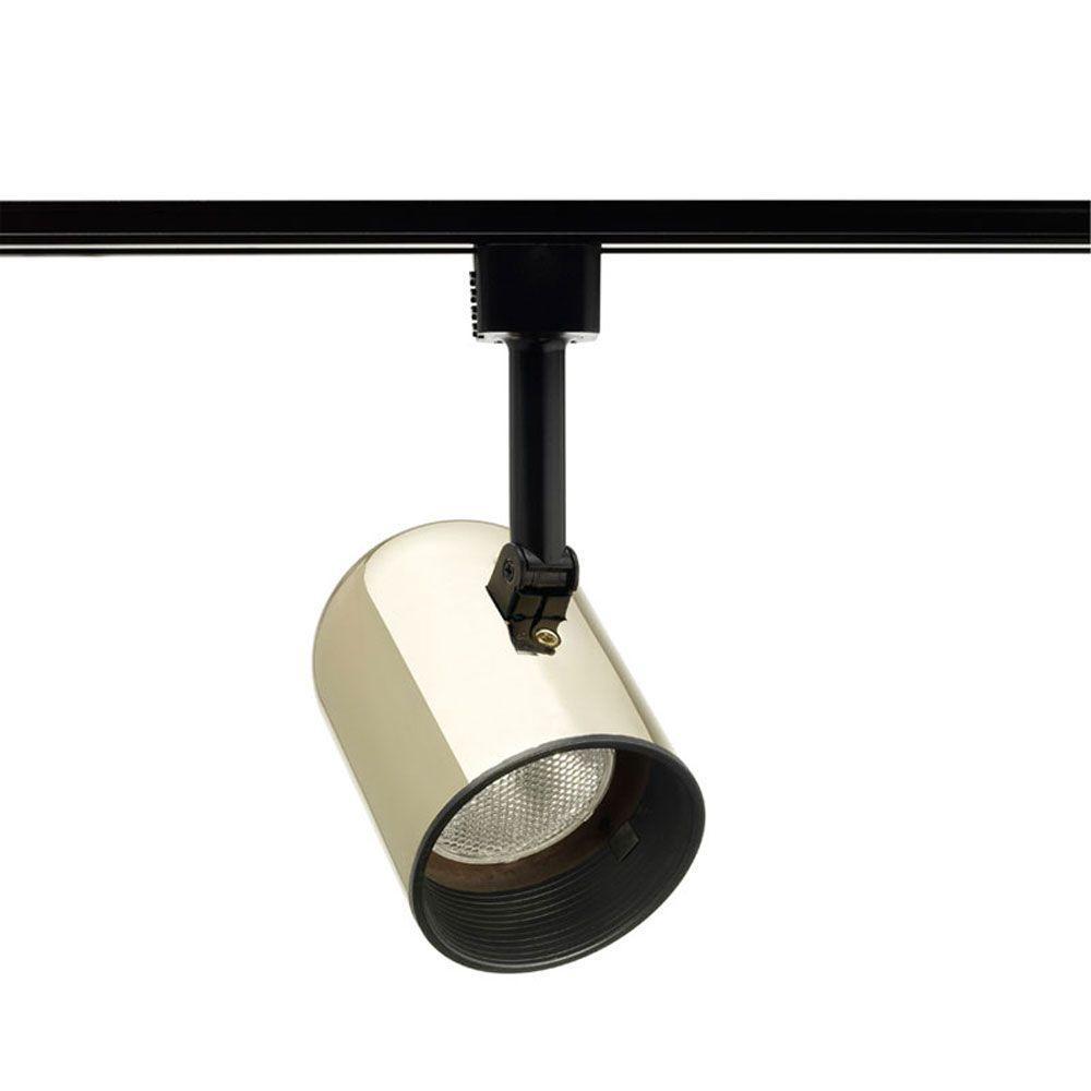Trac-Lites Polished-Brass Round-Back Cylinder Light with Black Baffle