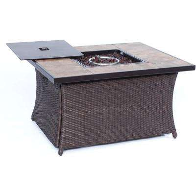 36 in. 40,000 BTU Woven Fire Pit Coffee Table with Porcelain Tile Top