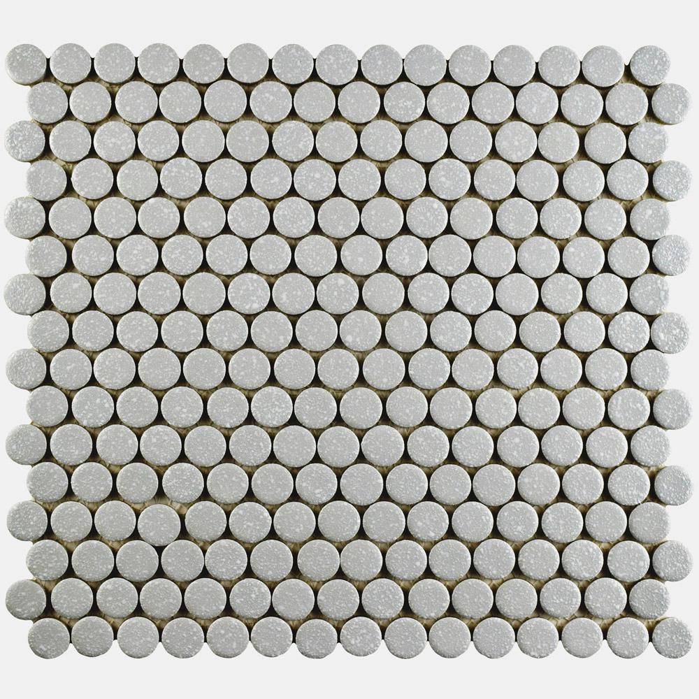 Hudson Penny Round Crystalline Grey 12 in. x 12-5/8 in. x
