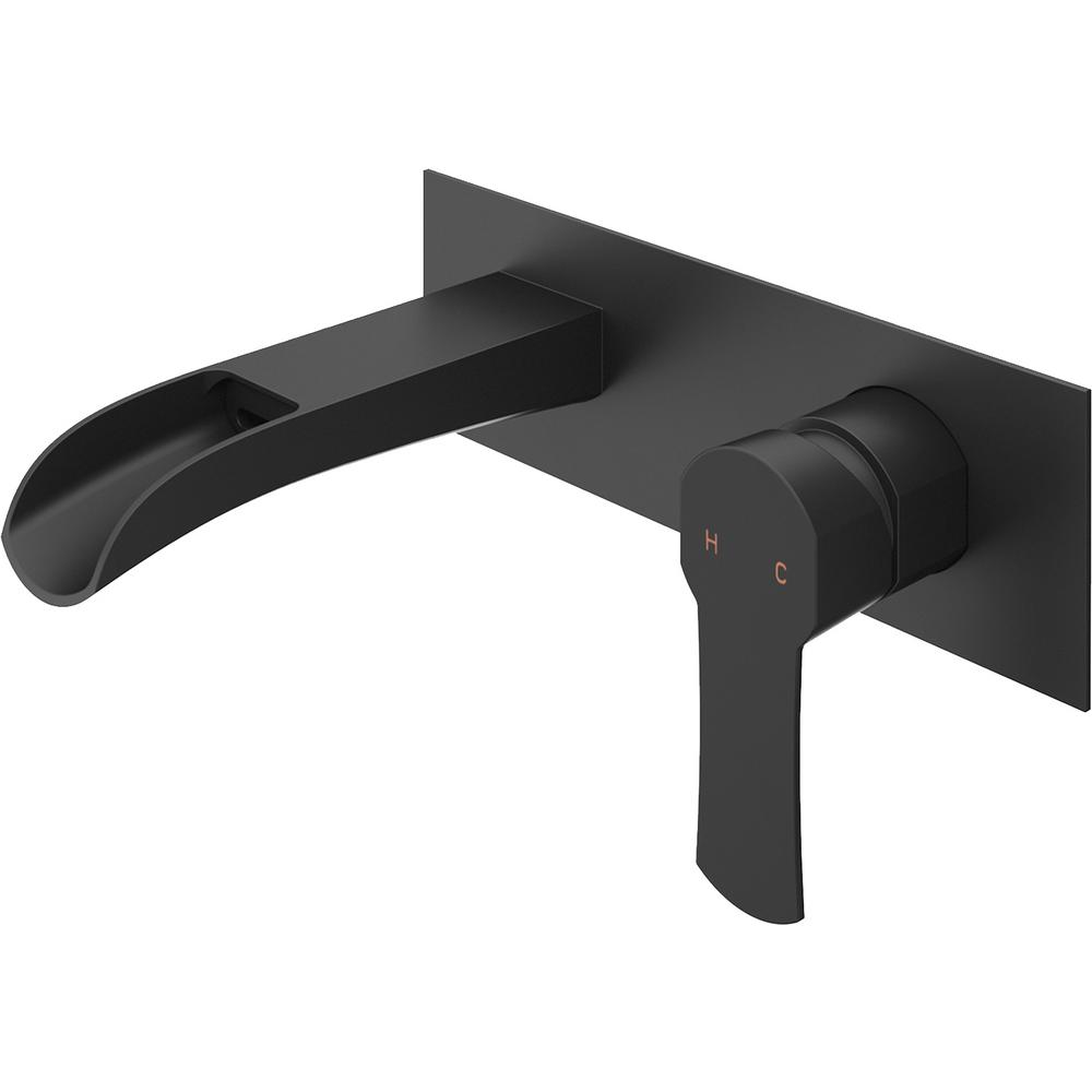 VIGO Cornelius Single-Handle Wall Mount Bathroom Faucet in Matte Black