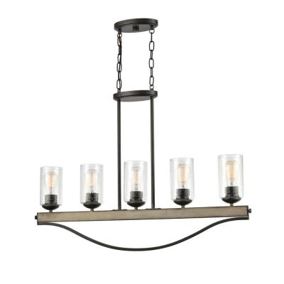 Prescott 5-Light Anvil Iron Single Row Linear Chandelier with Clear Seeded Glass Shades
