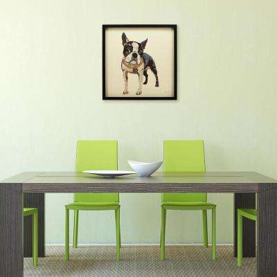 "25 in. x 25 in. ""Boston Terrier"" Dimensional Collage Framed Graphic Art Under Glass Wall Art"