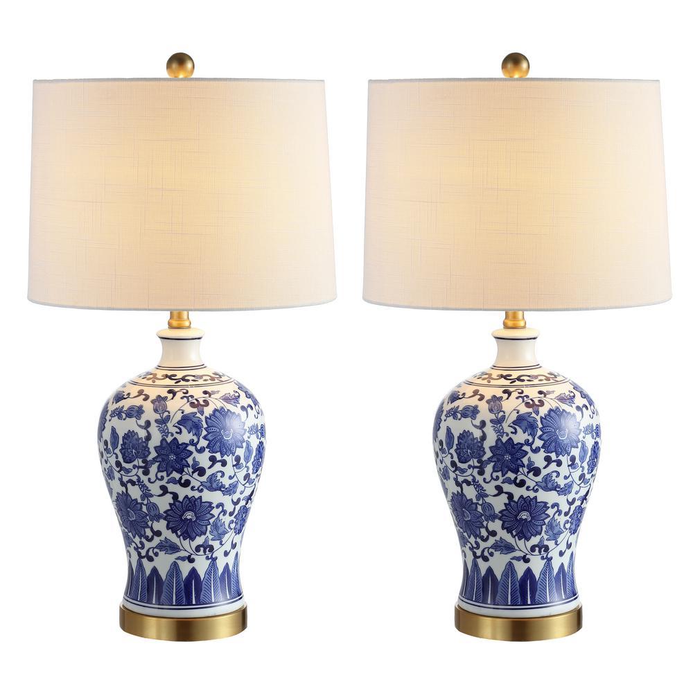 Jennifer 25.75 in. Blue/White Ceramic/Metal LED Table Lamp (Set of 2)