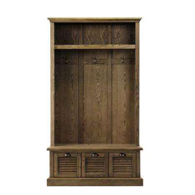 """Shutter Weathered Oak 42"""" W Hall Tree with Drawers"""