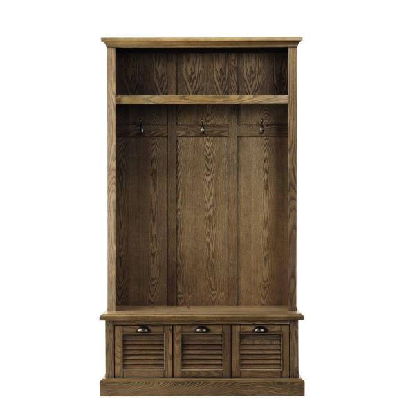Shutter Weathered Oak 42'' W Hall Tree with Drawers