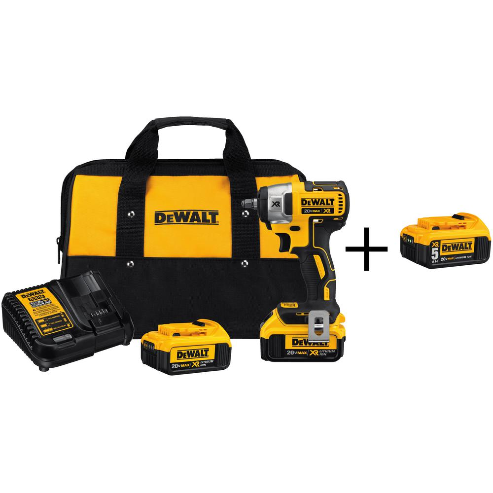 DEWALT 20-Volt Max XR Lithium Ion 3/8 in. Cordless Impact Wrench with Free 20-Volt 5.0Ah Battery