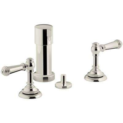 Artifacts Lever 2-Handle Bidet Faucet in Vibrant Polished Nickel