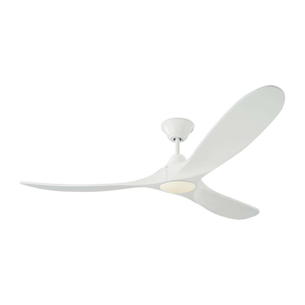 Monte Carlo Maverick LED 60 in. Integrated LED Indoor/Outdoor Matte White Ceiling Fan with White Blades with Remote Control