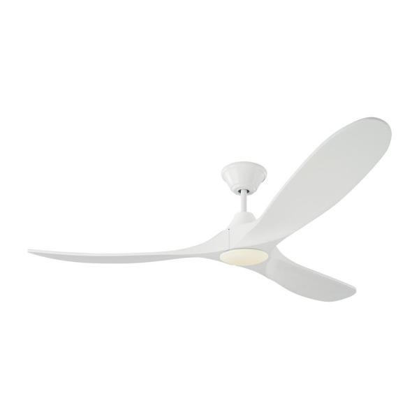 Maverick LED 60 in. Integrated LED Indoor/Outdoor Matte White Ceiling Fan with White Blades with Remote Control