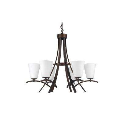 6-Light Oil-Rubbed Bronze Chandelier with Etched Dove White Glass Shade