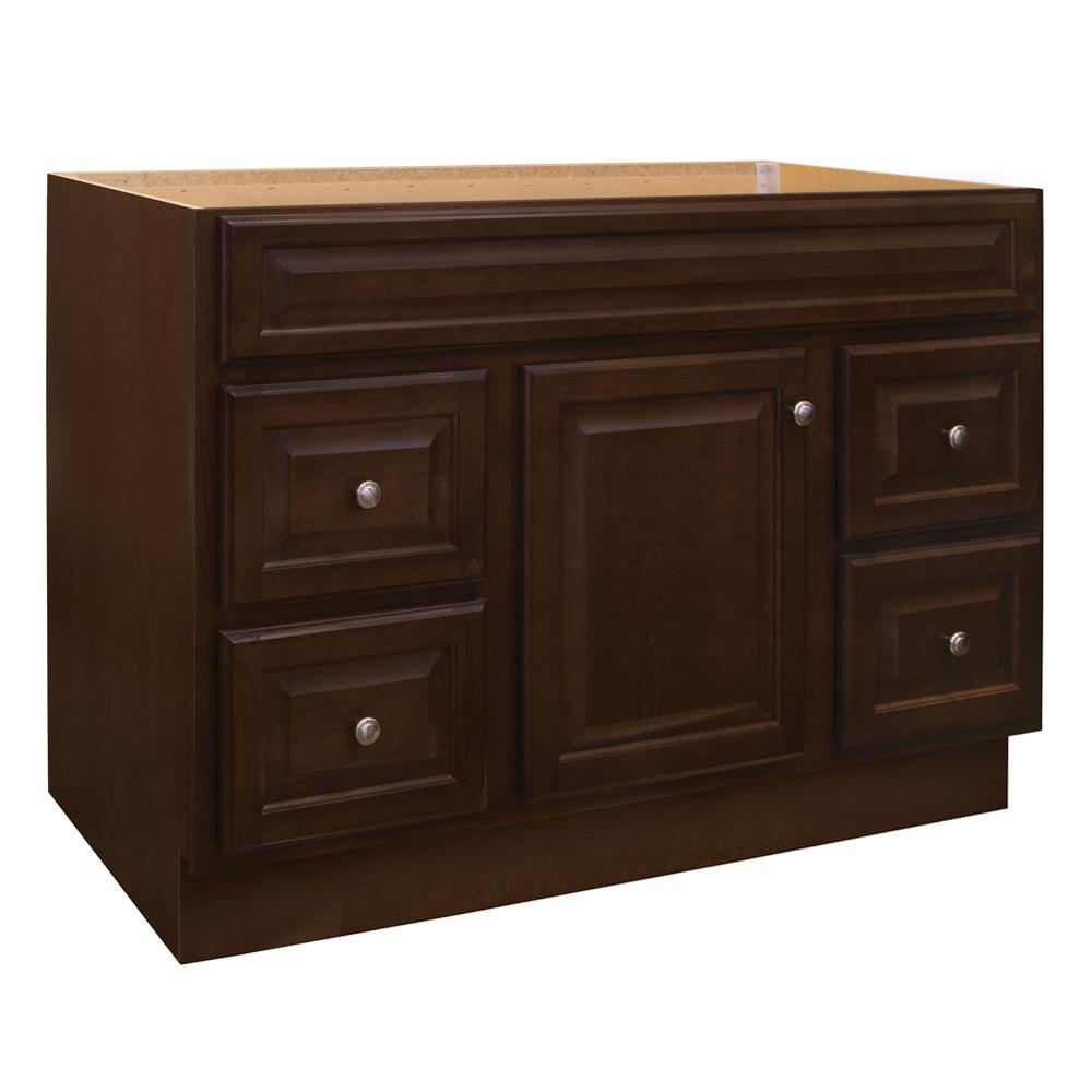 Glacier Bay Hampton 48 In. W X 21 In. D X 33.5 In. H Bathroom Vanity Cabinet Only In Cognac