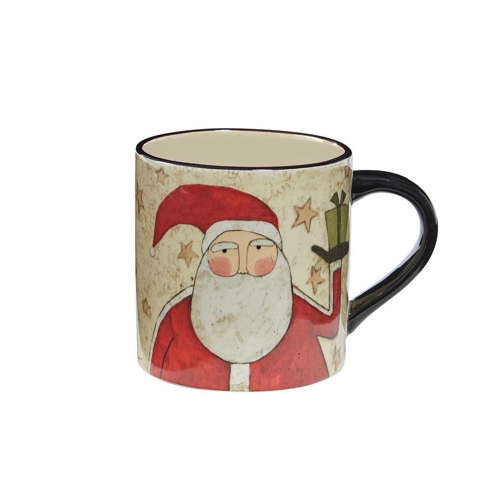 Snow Friends Santa Multicolor Ceramic Coffee Mug (Set of 4)